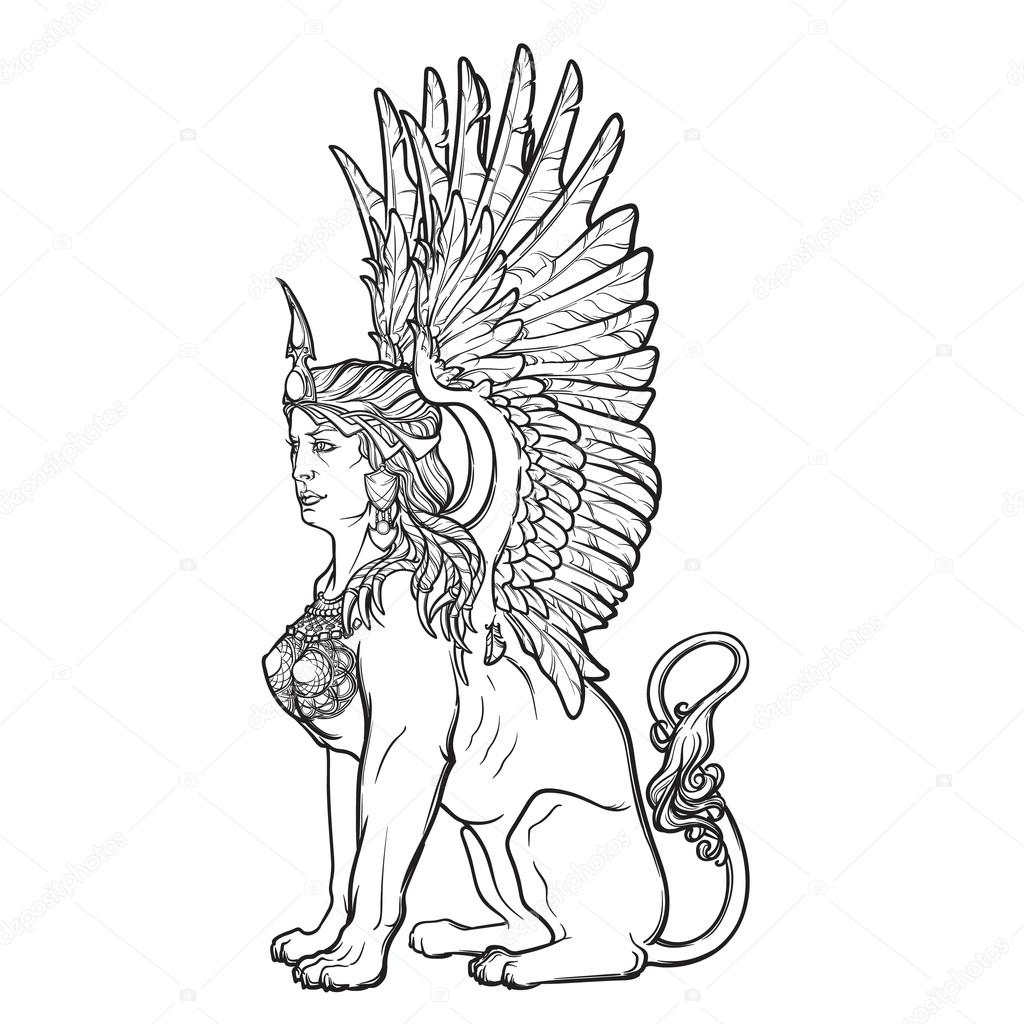 1024x1024 Sketch Drawing Of Sitting Sphinx Isolated On White Background