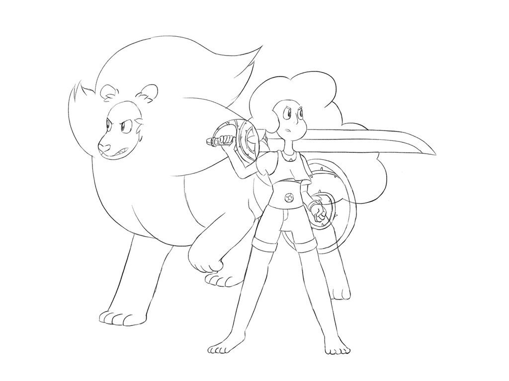 1024x768 Collab] Stevonnie And Lion (Sketch) By Sonicpikapal