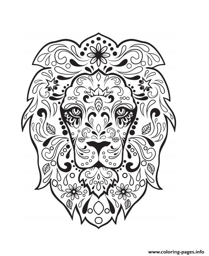 674x823 Lion Sugar Skull Calavera Coloring Pages Printable