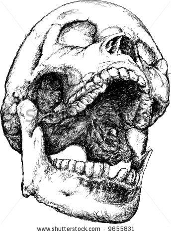 344x470 Screaming Skull Illustration Tattoo, Skull