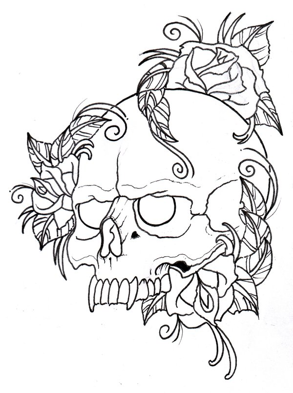600x805 Skull And Roses Outline By Vikingtattoo