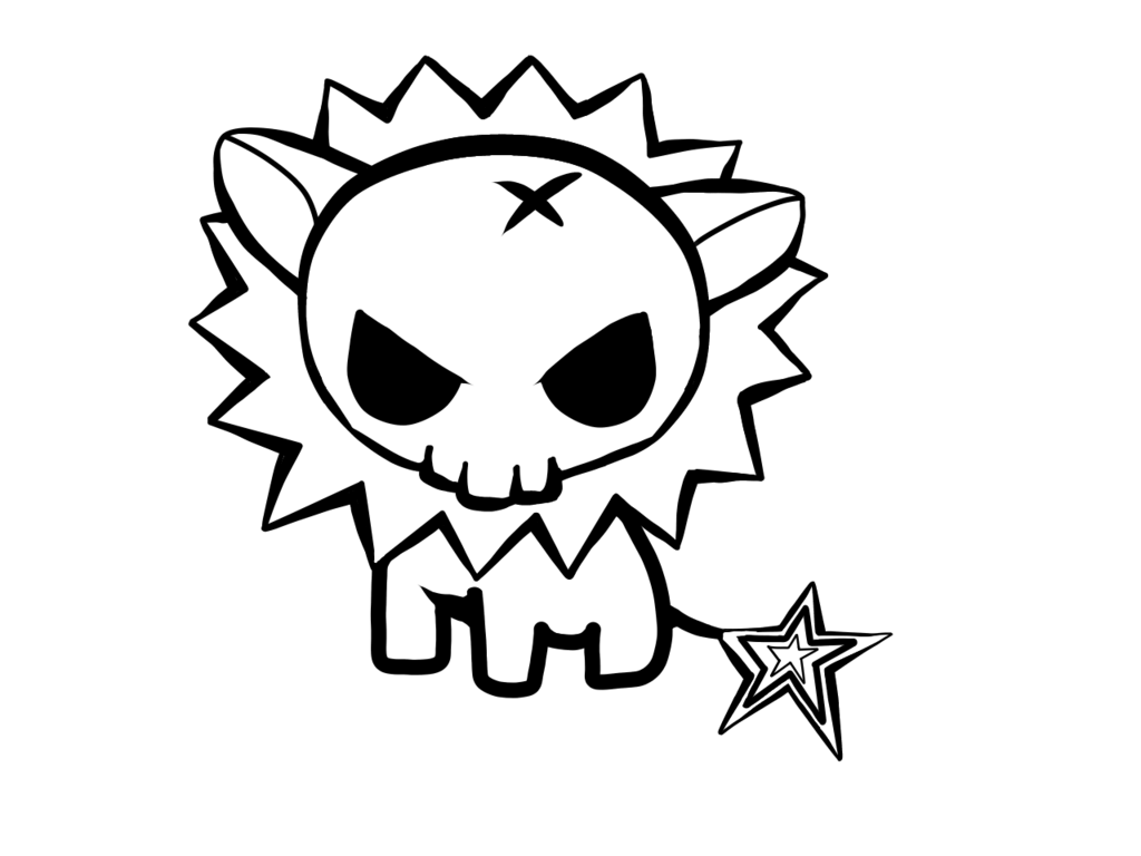1024x768 Kawaii Skull Lion Lineart By Crochetamommy