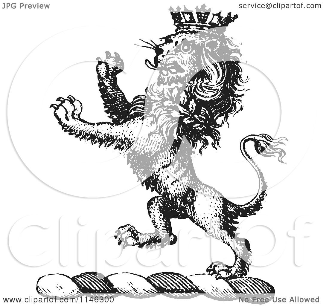1080x1024 Clipart Of A Black And White Vintage Lion Crest With A Crown