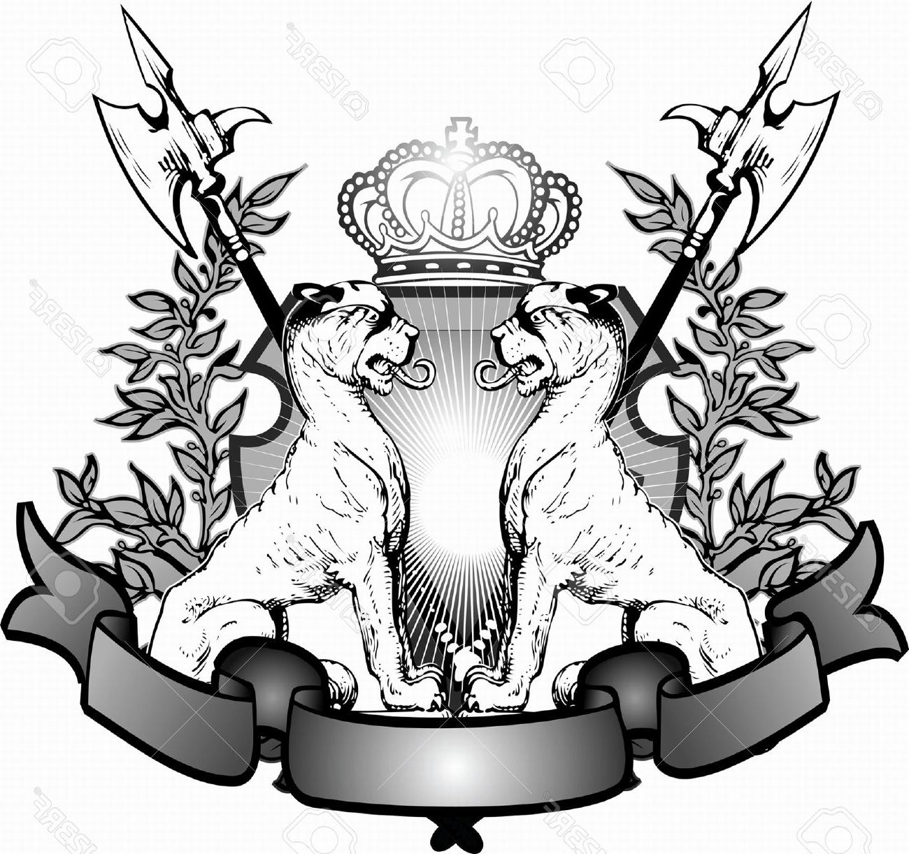 1300x1222 Hd Heraldry Lions Stock Vector Tattoo Crown Lion Images