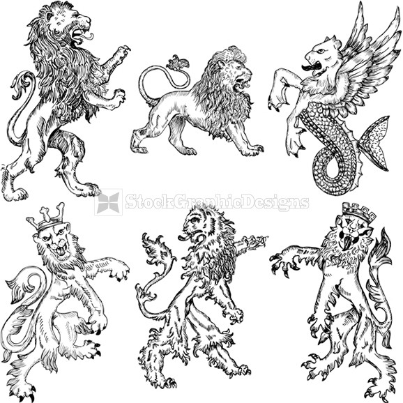 578x578 Hand Drawn Heraldic Lion Vector Set Stockgraphicdesigns