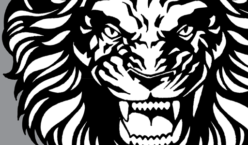 512x300 Roaring Lion With Crown Drawing