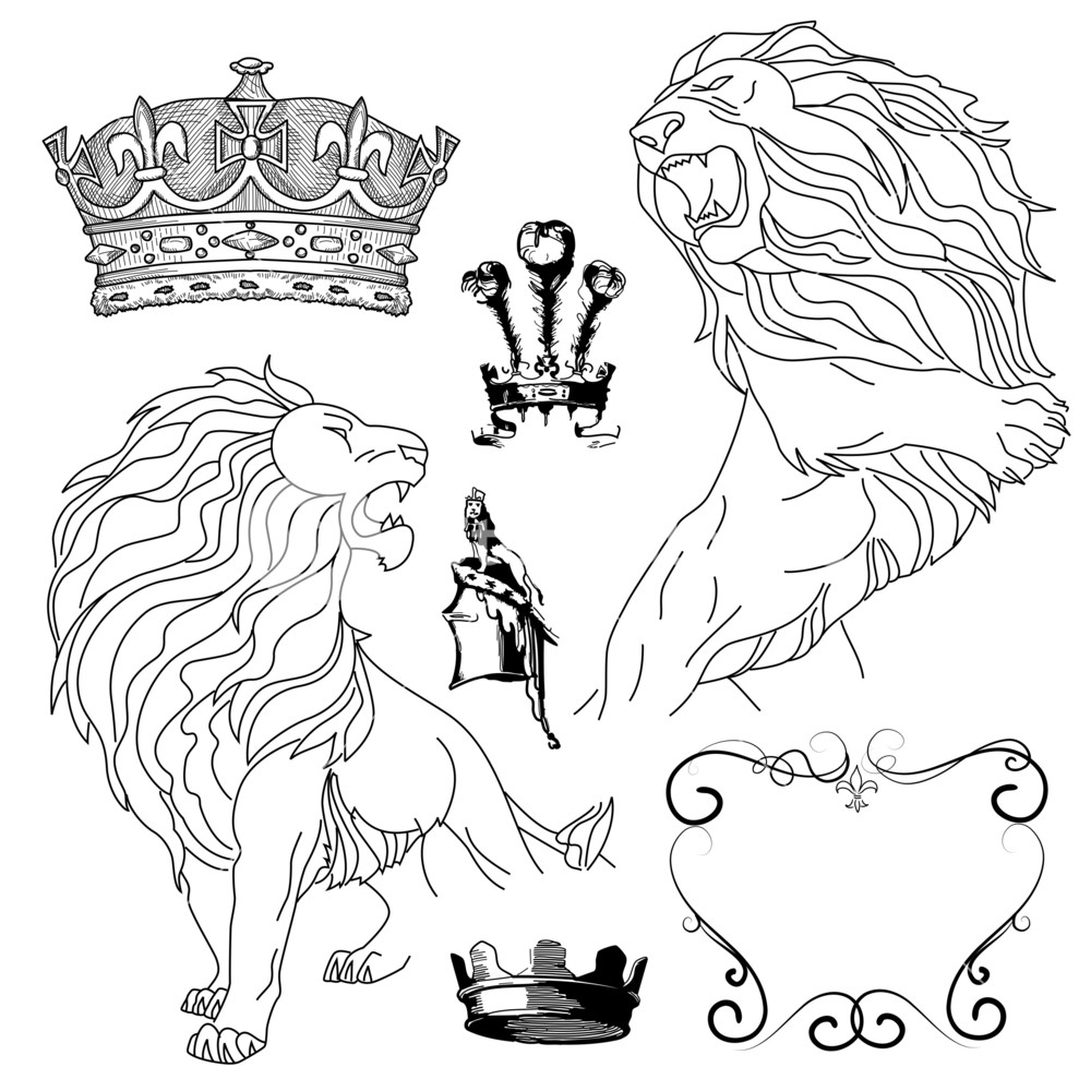 1000x1000 Set Of Lion And Crown Heraldry Royalty Free Stock Image