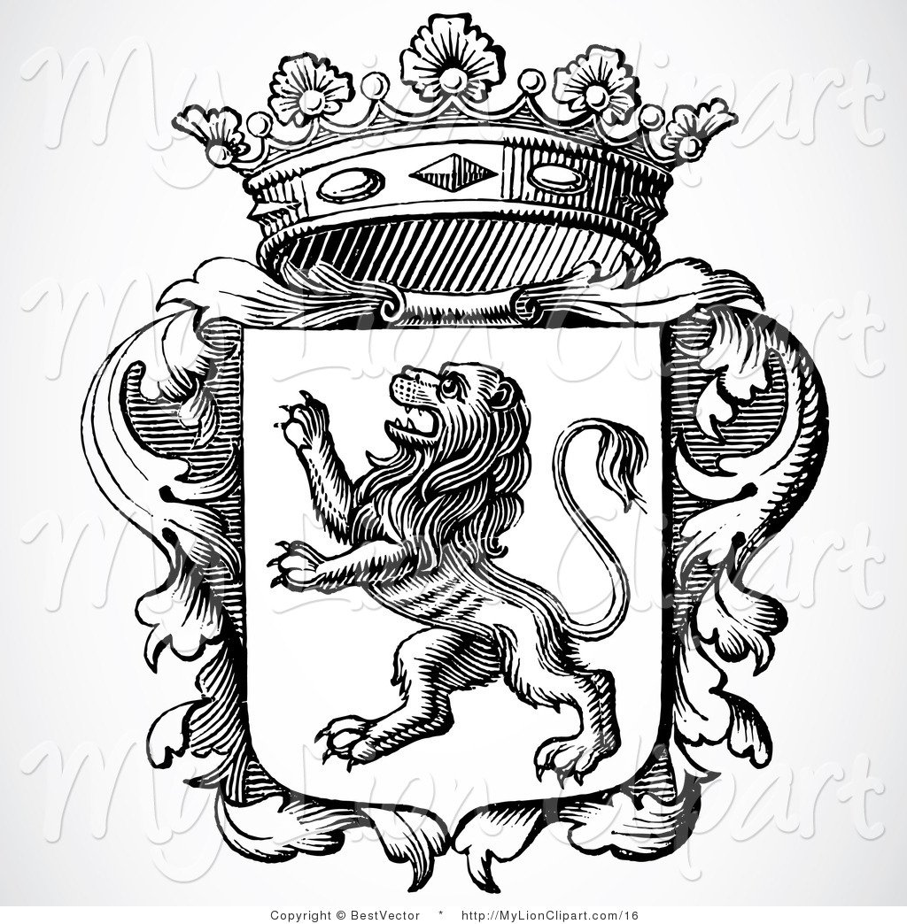 1024x1044 Vector Clipart Of A Black And White Lion Shield With Crown By