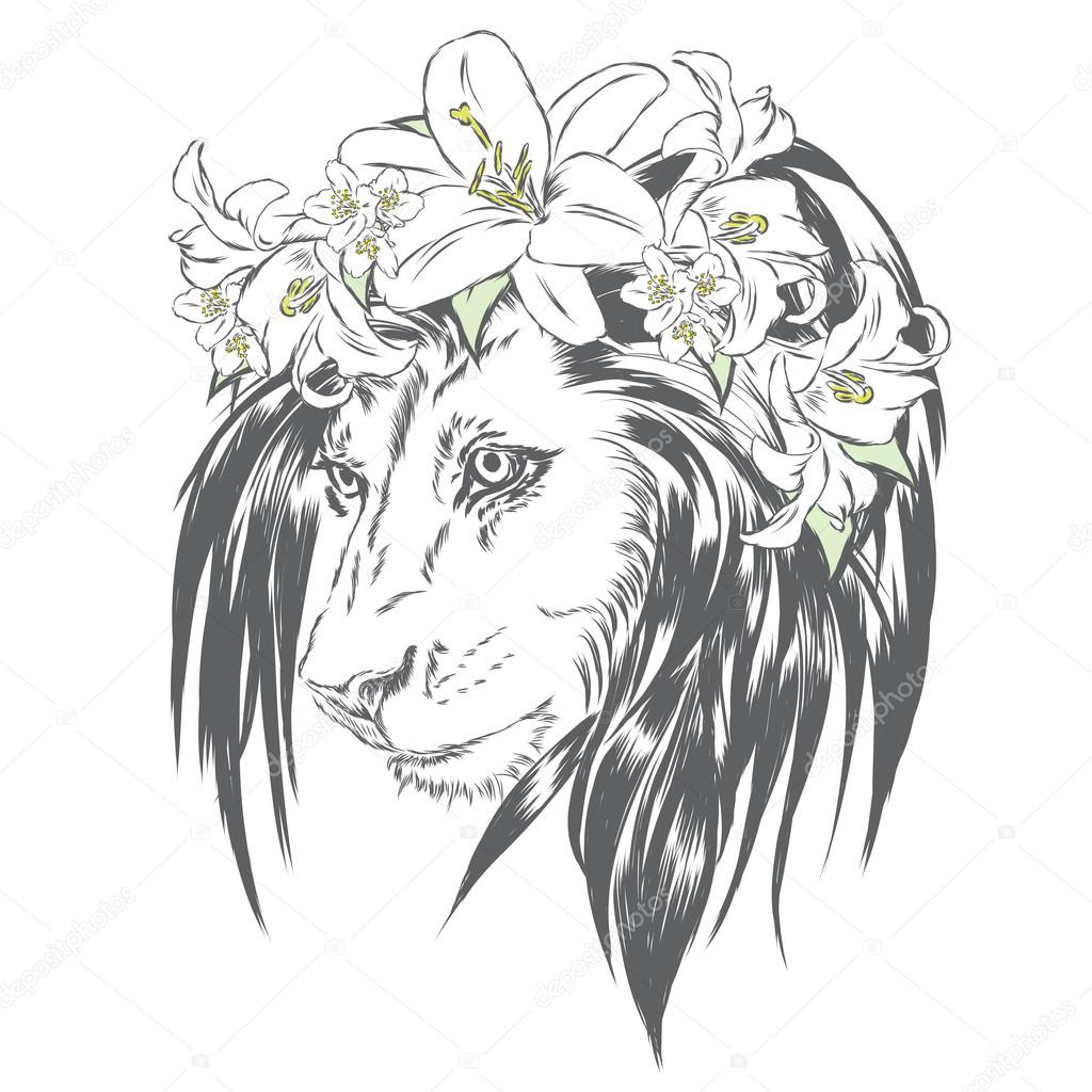 1024x1024 Beautiful Lion Wearing A Crown Of Flowers. King Of Beasts. Vector