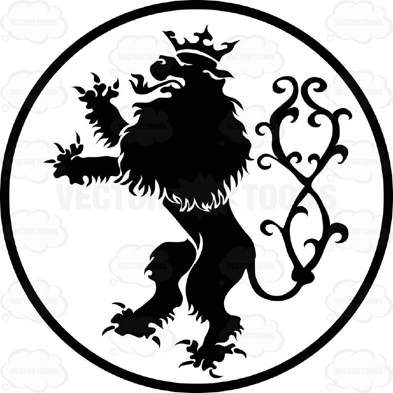 800x800 Black And White Upright Standing Lion Wearing Crown And Fancy Tail