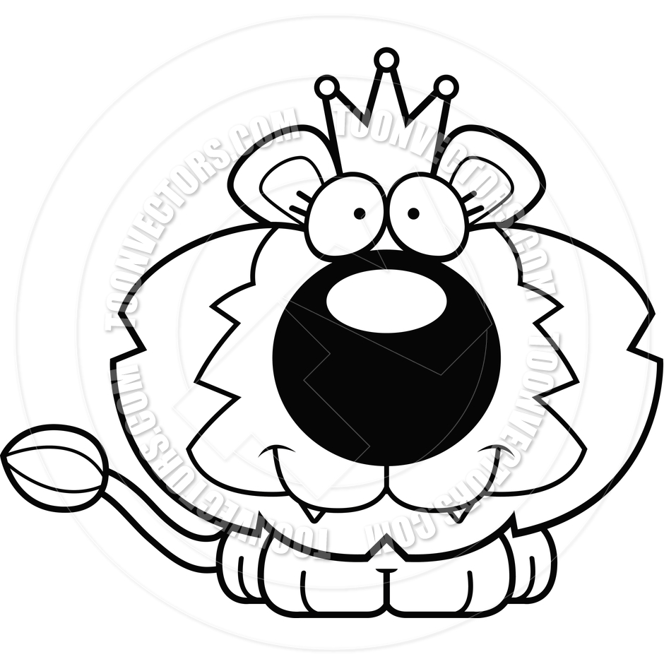 940x940 Cartoon Lion King Smiling (Black And White Line Art) By Cory
