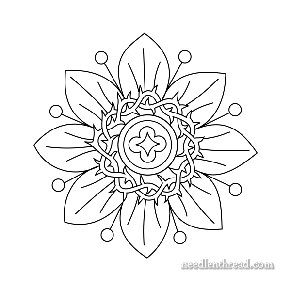 600x600 Small Passion Flower Free Hand Embroidery Pattern