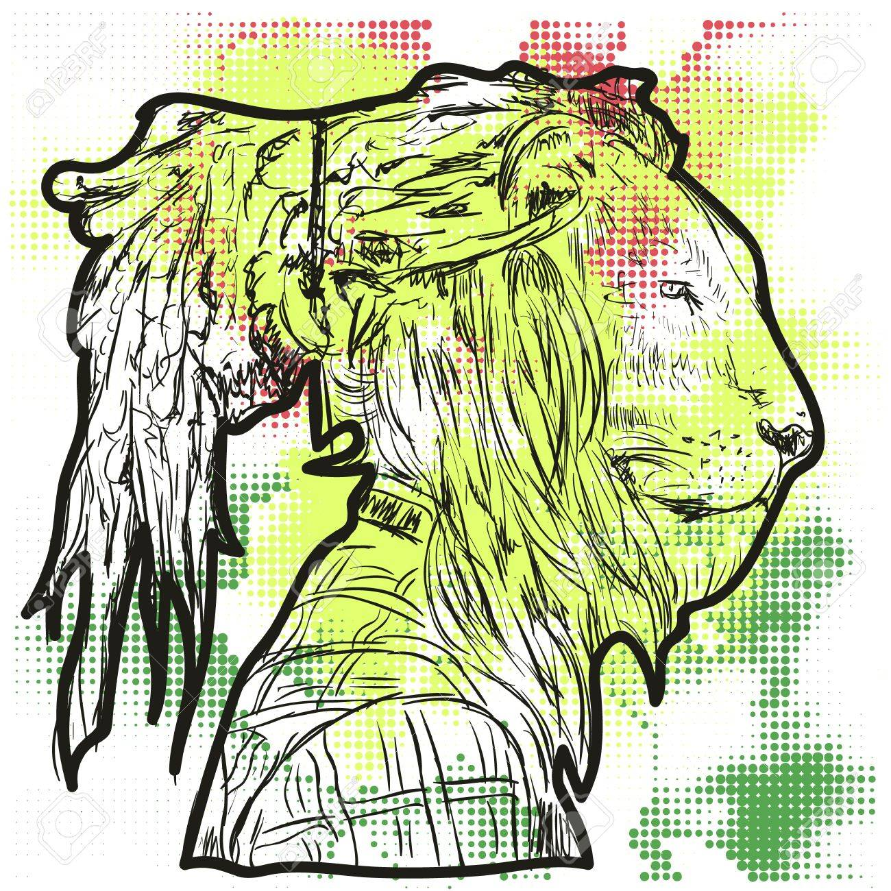 1300x1300 The Lion With The Human Body. A Man With The Head Of A Lion. Lion