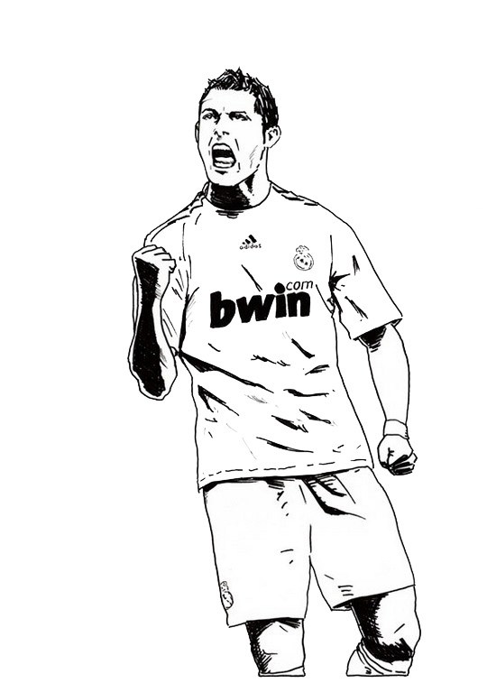 540x757 Cristiano Ronaldo Real Madrid Coloring Soccer Player Sheet Sp