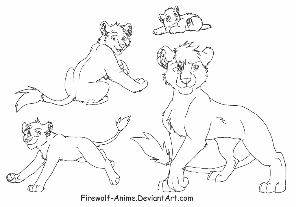 1024x717 Lioness Line Art By Firewolf Anime
