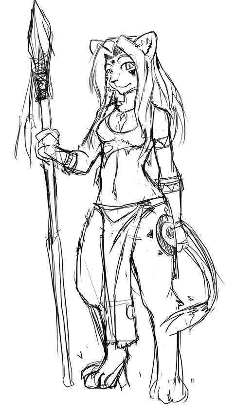485x858 Sketch] Tribal Lioness By Lunarez