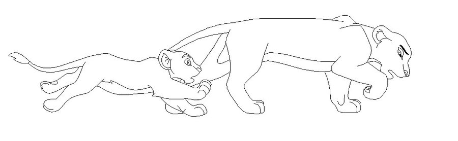 900x278 Banished Lioness And Cub Lineart By Yukifanxd