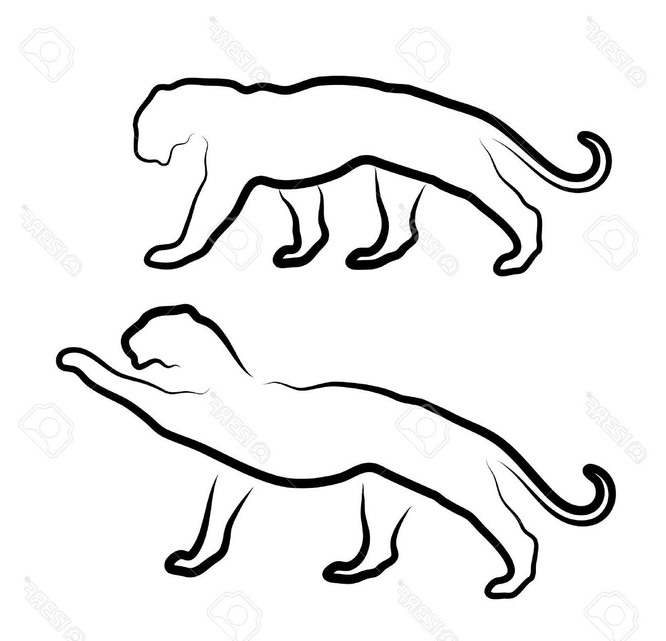 1300x1252 Best 15 Cat Silhouette On White Background Stock Vector Panther