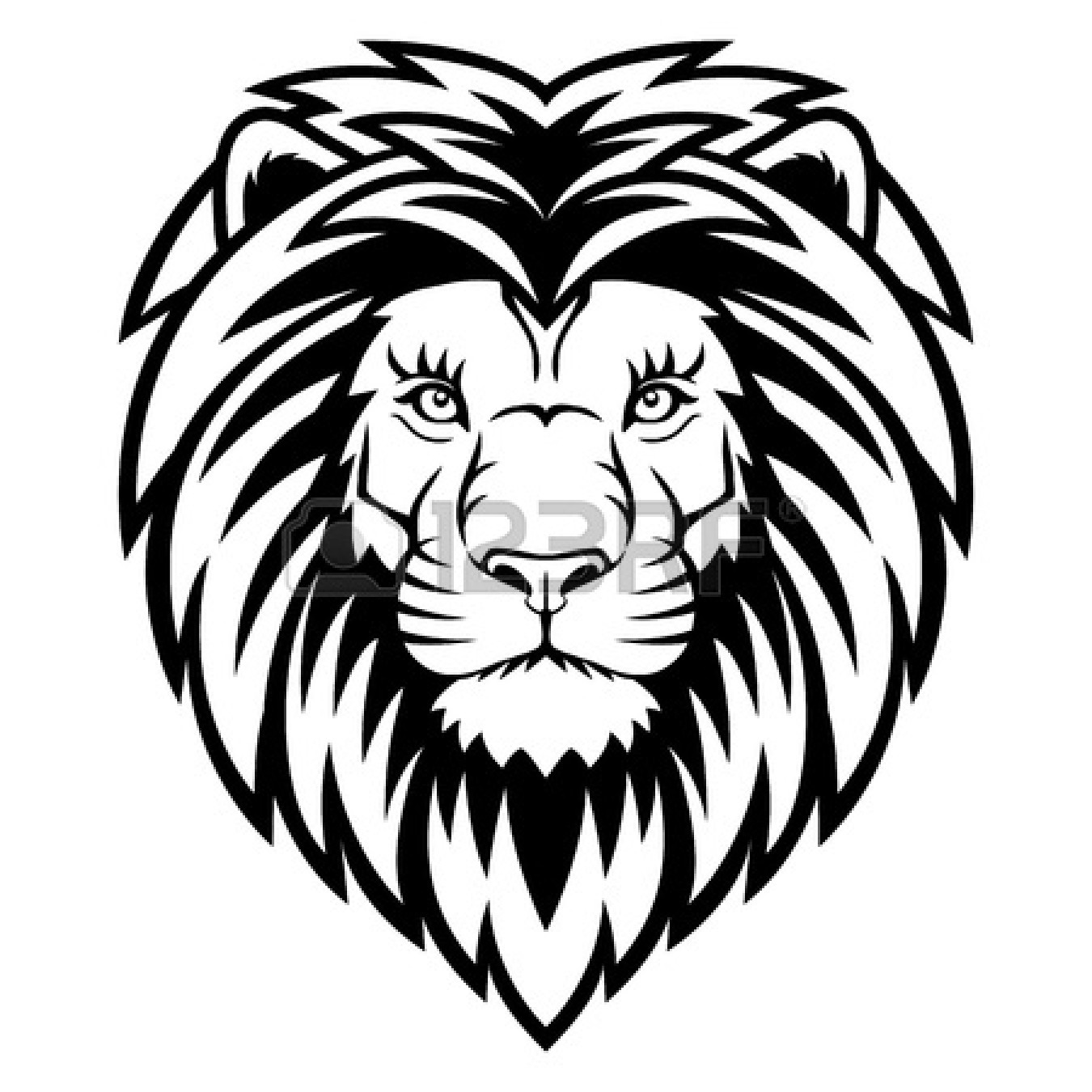 1350x1350 Free Lioness Head Clipart Black And White