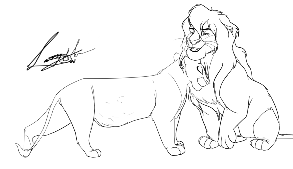 1024x589 Pregnant Lioness Free Lineart By Dynamix88