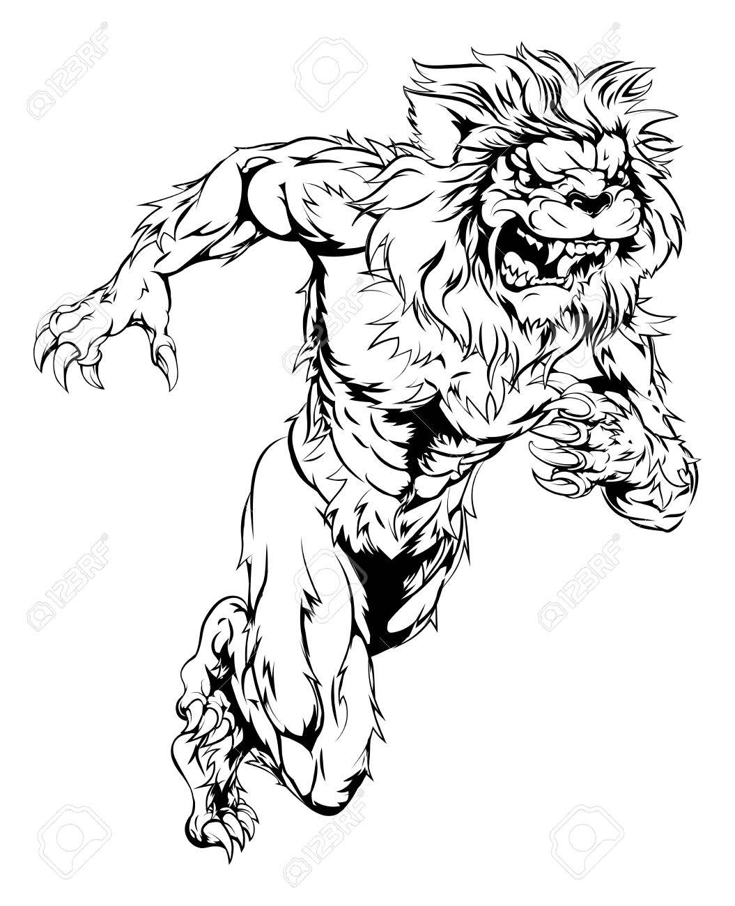 1055x1300 A Lion Man Character Sports Mascot Charging, Sprinting