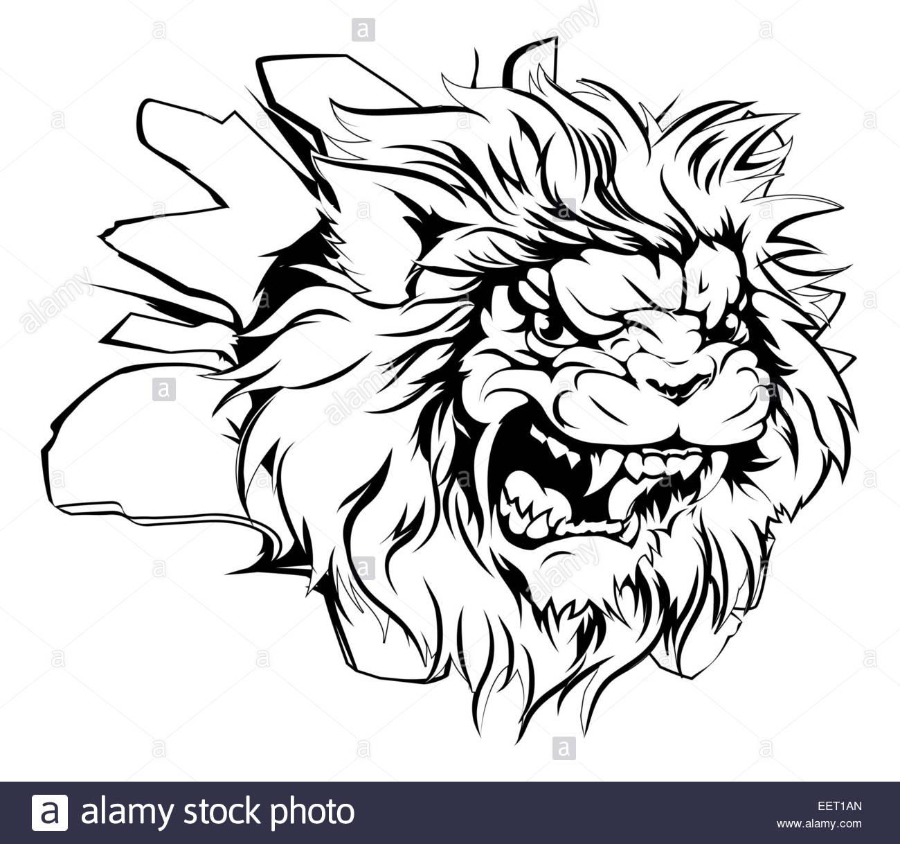 1300x1218 A Mean Looking Lion Animal Mascot Breaking Through A Wall Stock