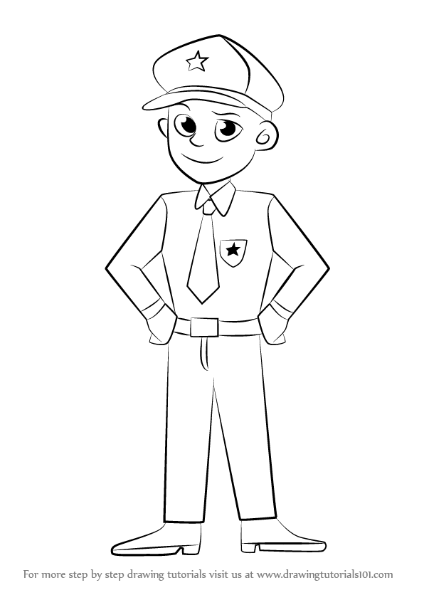 596x843 Learn How To Draw A Policeman (Other Occupations) Step By Step