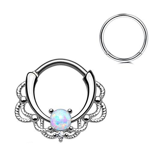 523x521 Fionusum 16g Opal Nose Hoop Earring Ear Drop Lip