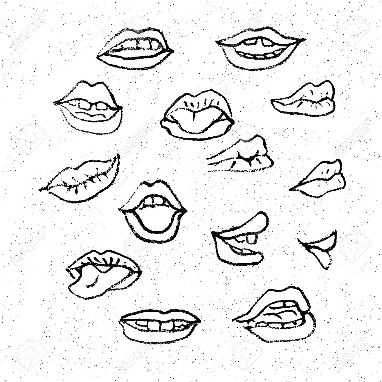 1300x1300 Lips Set, Attractive Human Mouths. Cartoon Mouth Icons. Every