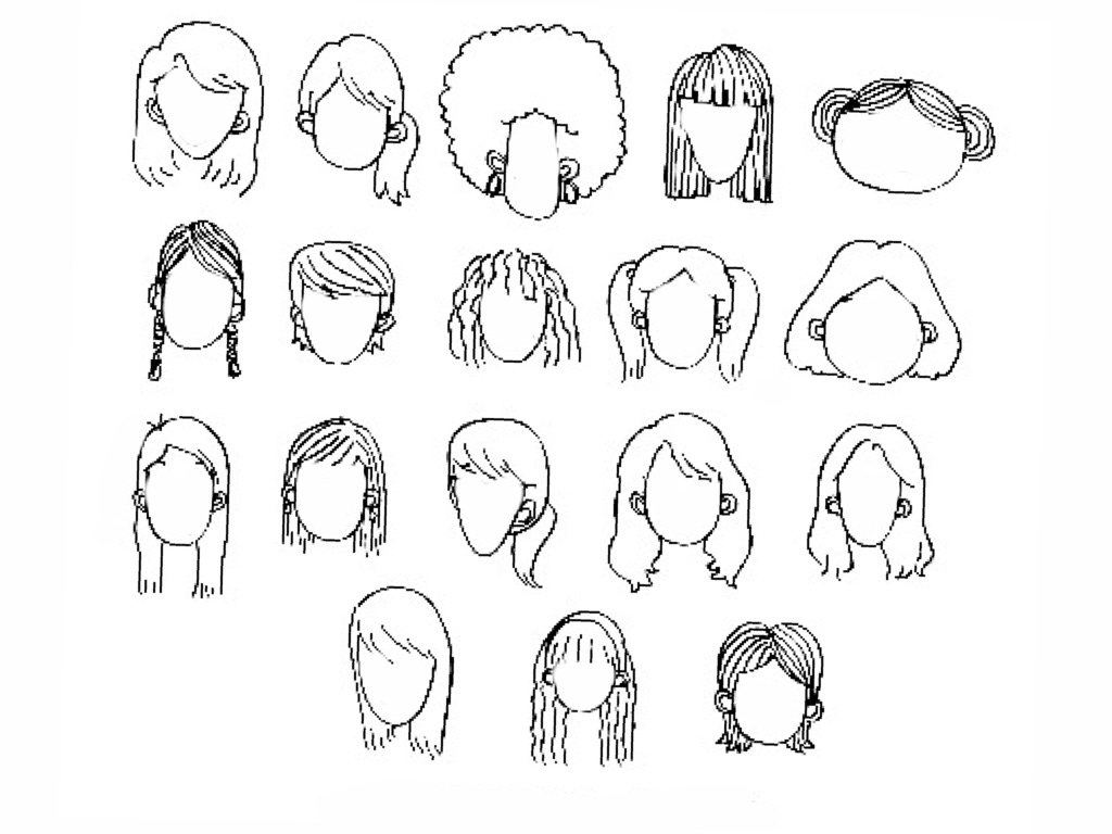 1024x768 Women Cartoon Facial Features To Draw Hair Nose Lips