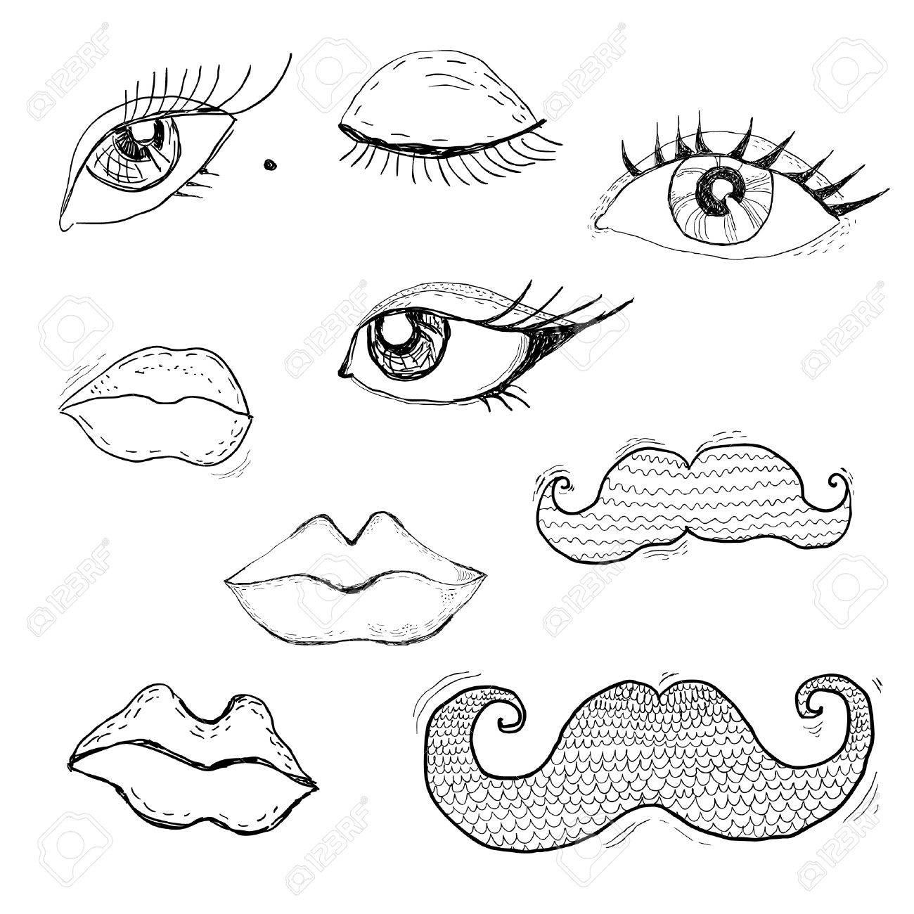 1300x1300 Cartoon Eyes, Lips And Mustache Royalty Free Cliparts, Vectors
