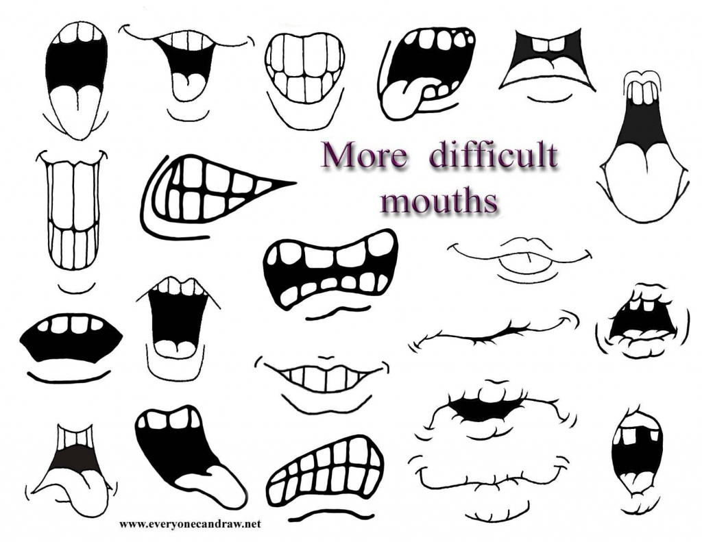 1024x791 Draw Anime Lips How To Draw Cartoon Mouths.