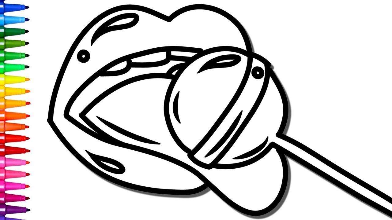 1280x720 Lollipop Funny Coloring Pages and How To Draw Lips