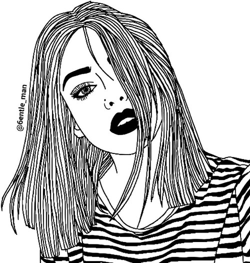 500x526 alternativ, black and white, black lips, boho, dark, drawing