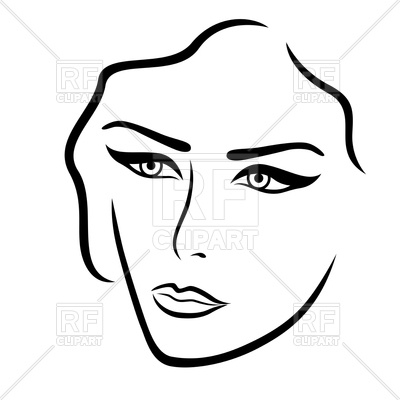 400x400 Abstract young lady face outline Royalty Free Vector Clip Art