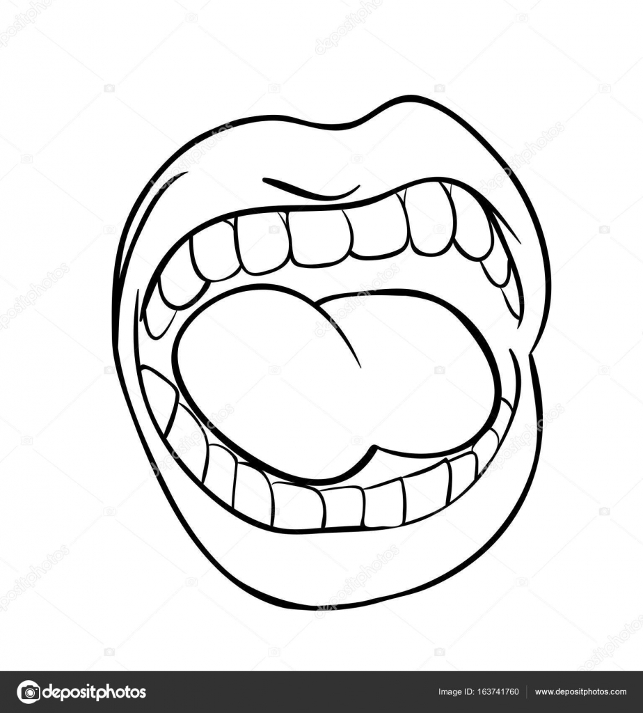 924x1024 shouting lips with teeth and tongue cartoon outline vector symbo