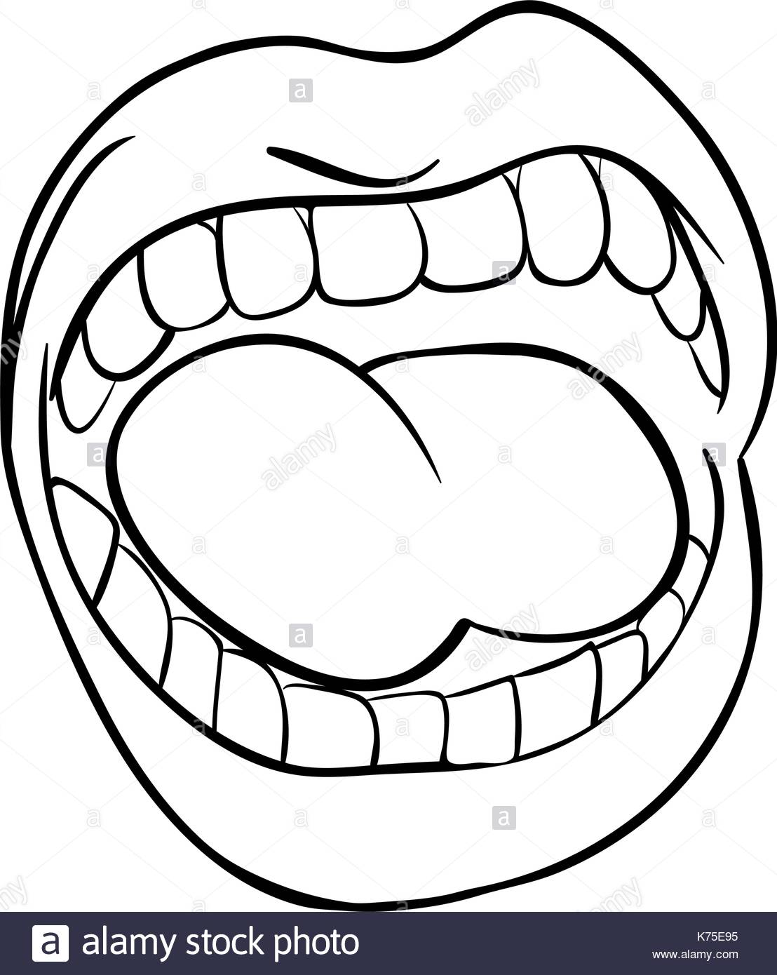 1108x1390 shouting lips with teeth and tongue cartoon outline vector symbol