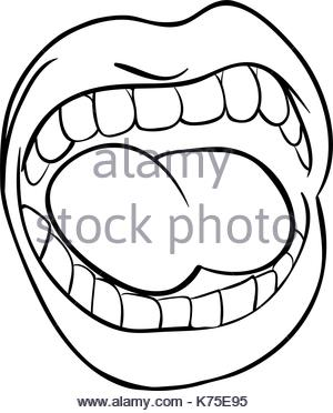 300x372 shouting lips with teeth and tongue cartoon vector symbol icon