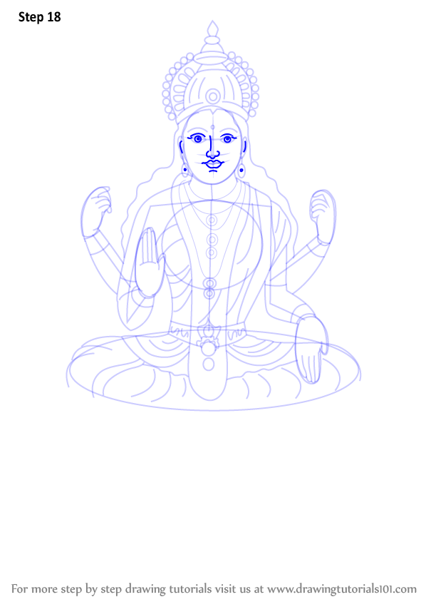 598x844 Learn How To Draw Lakshmi Mata (Hinduism) Step By Step Drawing