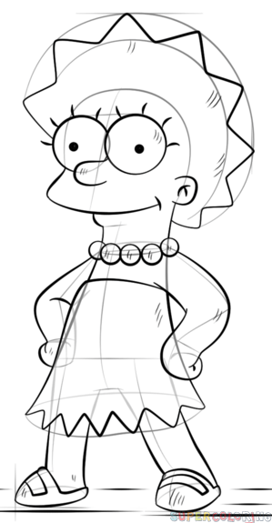 299x575 How To Draw Lisa Simpson Step By Step Drawing Tutorials