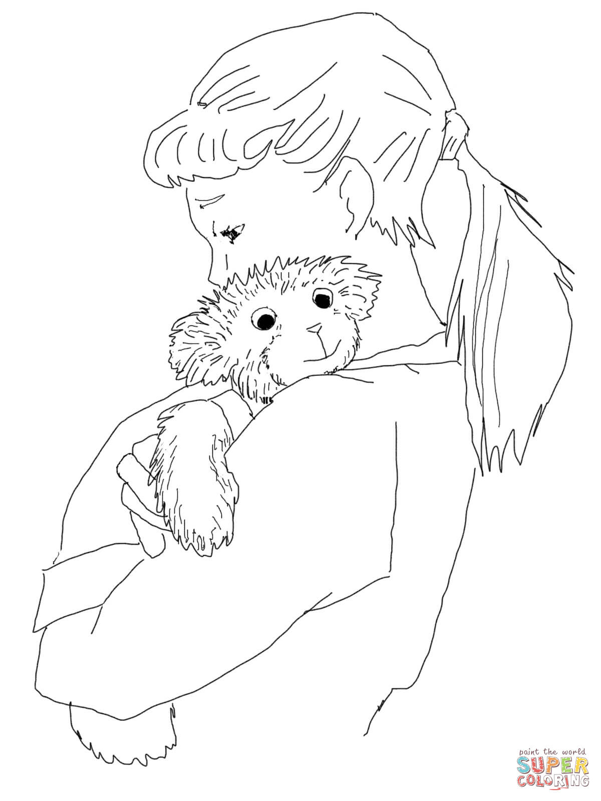 1200x1600 Lisa Hugging Corduroy Coloring Page Free Printable Coloring Pages