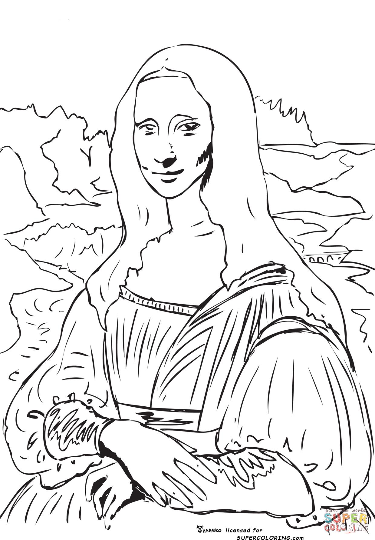 1239x1782 Mona Lisa (La Gioconda) By Leonardo Da Vinci Super Coloring