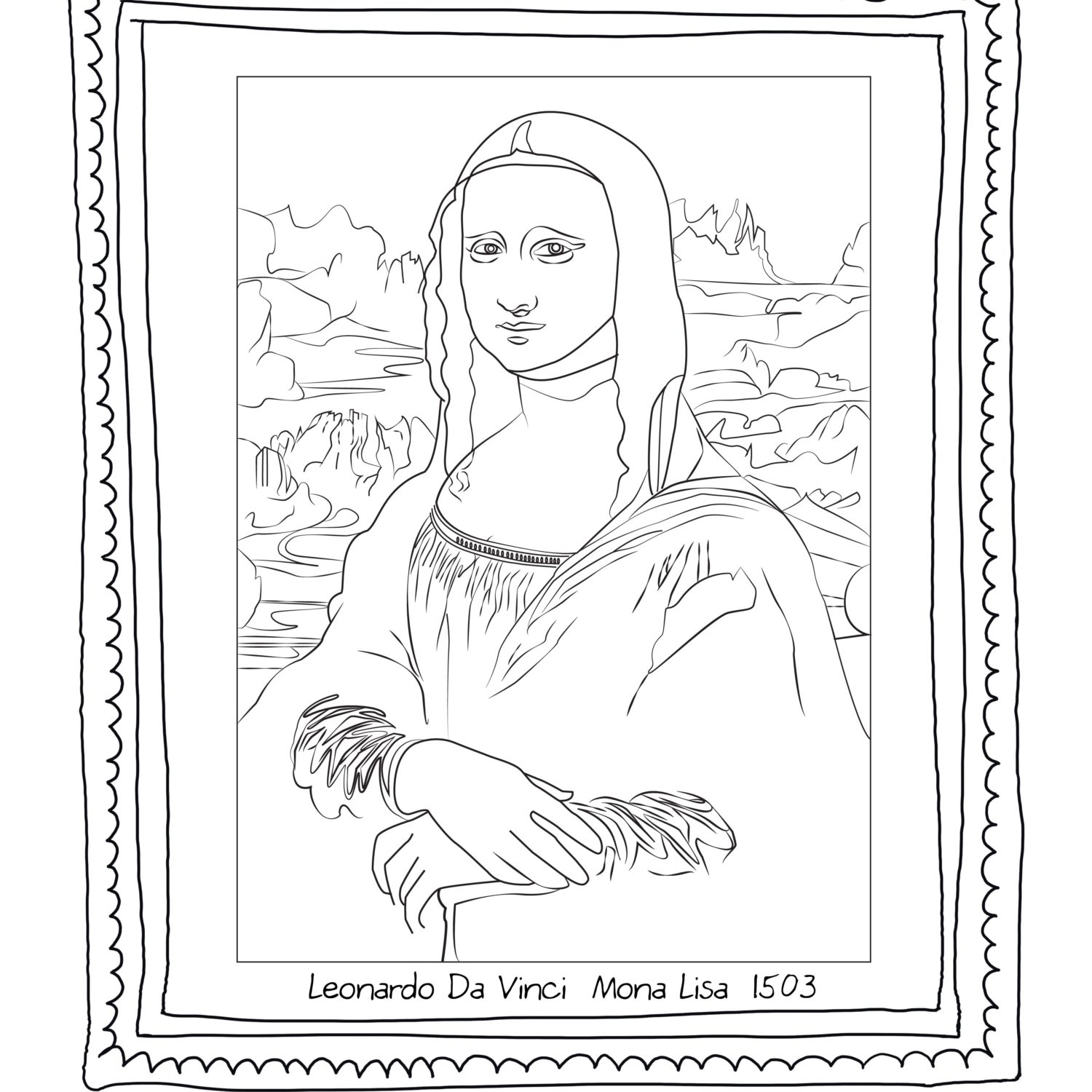 1500x1500 Coloring Pages For Kids Mona Lisa By Leonardo Vince Monalisa
