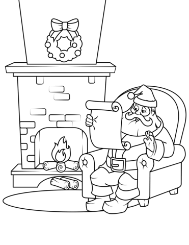 371x480 Santa Checking His List Coloring Page Free Printable Coloring Pages