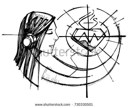 450x380 Hand Drawn Vector Illustration Or Drawing Of A Woman Listening