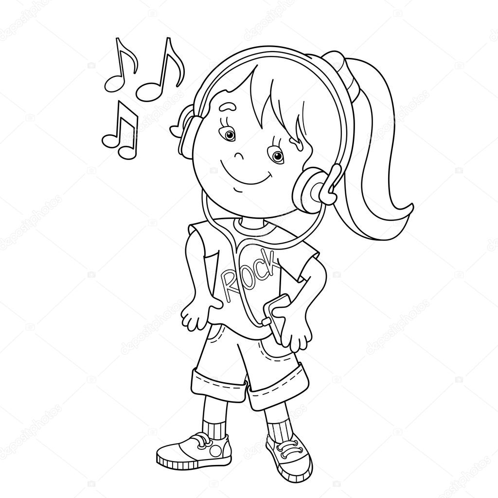 1024x1024 Coloring Page Outline Of Girl In Headphones Listening To To Music