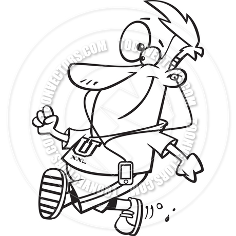 460x460 Cartoon Man Walking And Listening To Music (Black Amp White Line Art