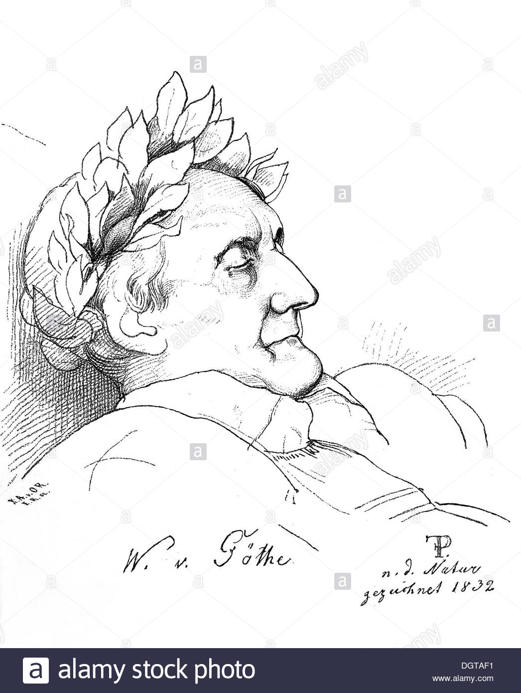 1046x1390 Goethe In Death, Historical Illustration In Deutsche Stock Photo
