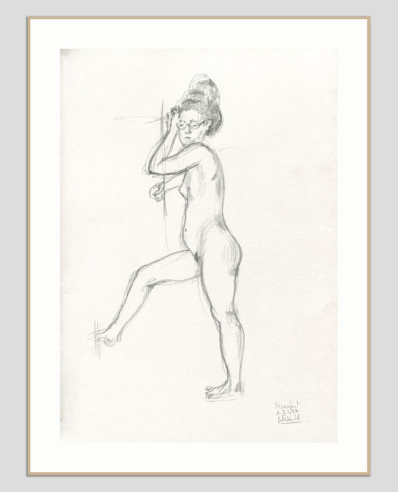 570x705 Nude Pencil Drawing Original Female Pencil Sketch Realistic