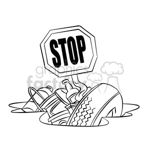 300x300 Royalty Free Stop Littering Black And White 394779 Vector Clip Art